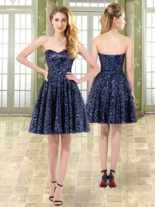 Adorable Sweetheart Sleeveless Prom Dresses Mini Length Beading Navy Blue Tulle and Sequined
