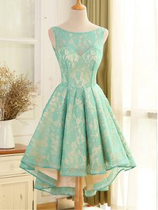 High Low Turquoise Dress for Prom Scoop Sleeveless Backless