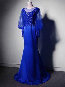 Long Sleeves Elastic Woven Satin Brush Train Clasp Handle in Royal Blue with Beading and Lace and Appliques