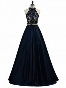 Unique Lace and Appliques Homecoming Dress Navy Blue Zipper Sleeveless Floor Length