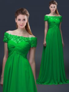 Modern Green Short Sleeves Appliques Floor Length Prom Gown
