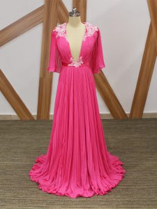 Fashion Empire Half Sleeves Hot Pink Prom Party Dress Sweep Train Backless