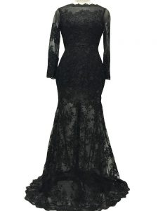 Lace Bateau Long Sleeves Brush Train Backless Lace and Belt in Black