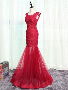 Red Scoop Neckline Lace and Appliques Evening Dress Sleeveless Zipper