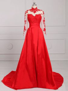 Satin Long Sleeves Prom Dress Brush Train and Lace and Appliques