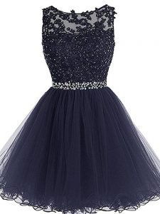 Discount Navy Blue Scoop Zipper Beading and Lace and Appliques and Ruffles Evening Dress Sleeveless