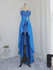 Custom Fit High Low Empire Sleeveless Blue Prom Dresses Zipper