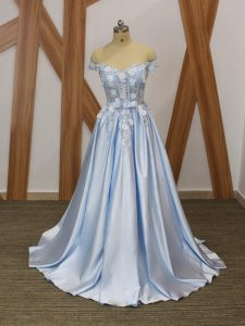 Customized Elastic Woven Satin Off The Shoulder Sleeveless Lace Up Appliques and Belt Prom Evening Gown in Light Blue