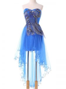 Fancy Empire Prom Dress Blue Sweetheart Tulle Sleeveless High Low Lace Up