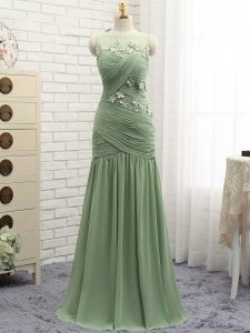 Olive Green Zipper Prom Party Dress Ruching and Hand Made Flower Sleeveless Brush Train