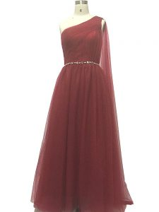 Burgundy One Shoulder Zipper Beading and Pleated Prom Evening Gown Sweep Train Sleeveless