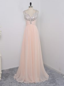 On Sale Floor Length Zipper Dress Like A Star Peach for Prom and Party and Military Ball with Sequins