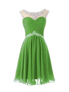 A-line Beading Prom Evening Gown Zipper Chiffon Cap Sleeves Knee Length