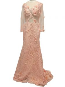 Captivating Peach Scoop Neckline Beading and Hand Made Flower Prom Dresses Long Sleeves Side Zipper