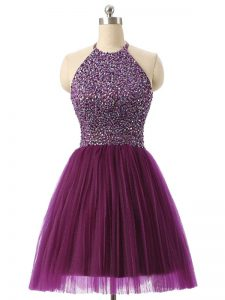 Custom Made Dark Purple Sleeveless Mini Length Beading and Sequins Backless Celeb Inspired Gowns
