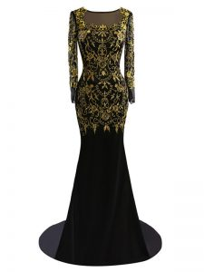 Customized Scoop Long Sleeves Brush Train Zipper Prom Dress Black Chiffon