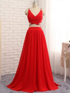 Custom Fit Straps Sleeveless Brush Train Beading Red Chiffon