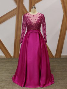 Fuchsia Long Sleeves Elastic Woven Satin Zipper Prom Evening Gown for Prom and Party and Military Ball