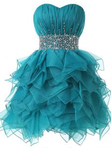Designer Teal Lace Up Sweetheart Beading and Ruffles and Ruching Dress for Prom Organza Sleeveless