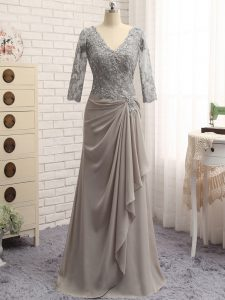 Super Grey Column/Sheath Chiffon V-neck Long Sleeves Lace and Appliques Floor Length Zipper Prom Evening Gown
