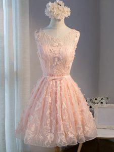Excellent Mini Length Lace Up Prom Dresses Pink for Prom and Party and Beach with Appliques and Belt