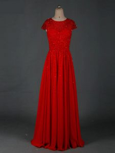 Floor Length Empire Cap Sleeves Red Prom Party Dress Zipper