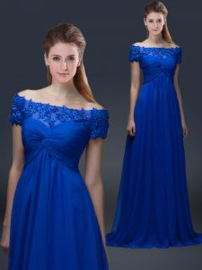 Attractive Floor Length Lace Up Prom Party Dress Blue for Prom and Party with Appliques
