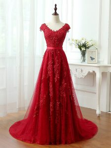 Classical V-neck Cap Sleeves Prom Evening Gown Brush Train Lace and Appliques Red Tulle