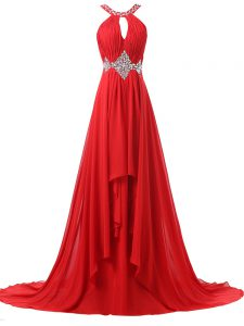 Red Sleeveless Beading and Ruching Lace Up Prom Gown