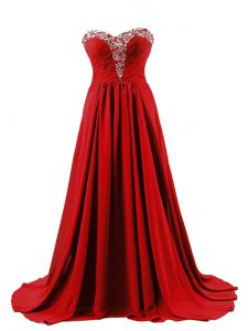 Gorgeous Brush Train Empire Prom Dress Red Sweetheart Elastic Woven Satin Sleeveless Lace Up