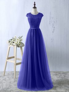 Low Price Floor Length Zipper Prom Party Dress Blue for Prom and Party and Military Ball with Lace