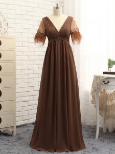 Affordable Floor Length Brown Dress for Prom V-neck Sleeveless Zipper