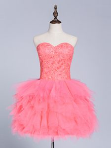 Flirting Sleeveless Mini Length Lace and Appliques Lace Up Prom Party Dress with Watermelon Red