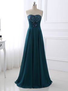 Floor Length Teal Prom Dresses Chiffon Sleeveless Sequins and Ruching