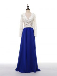 Floor Length Blue And White Prom Dress V-neck Long Sleeves Zipper