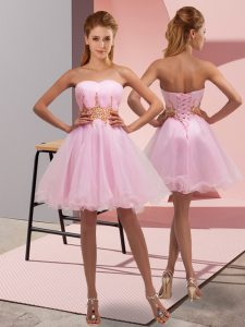 New Arrival Baby Pink Prom and Party and Sweet 16 with Beading and Ruching Sweetheart Sleeveless Lace Up