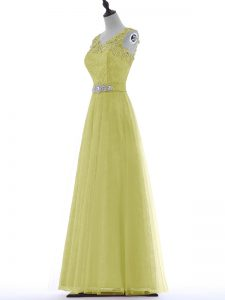 Glorious Yellow Sleeveless Floor Length Beading and Lace and Appliques Zipper Dress for Prom
