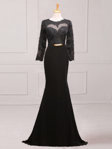Popular Lace and Appliques and Belt Prom Evening Gown Black Side Zipper Long Sleeves Brush Train