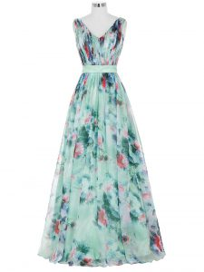 Gorgeous Multi-color Zipper V-neck Ruching and Belt Evening Dress Printed Sleeveless