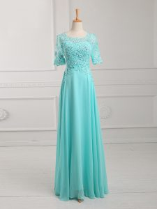Simple Aqua Blue Chiffon Zipper Half Sleeves Floor Length Lace and Appliques