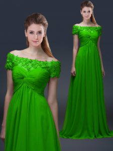 Beauteous Lace Up Off The Shoulder Appliques Prom Evening Gown Chiffon Short Sleeves
