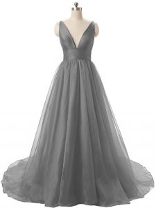 Grey Backless V-neck Ruching Dress for Prom Organza Sleeveless Brush Train