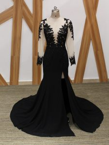 Lace and Appliques Evening Dress Black Zipper Long Sleeves Brush Train