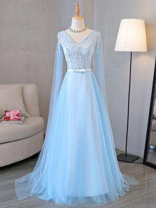 High Class V-neck Long Sleeves Tulle Prom Gown Beading and Belt Lace Up