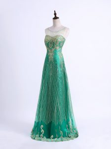 Cheap Green Sleeveless Floor Length Beading and Appliques Lace Up Homecoming Dress