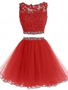 Sweet Red Sleeveless Tulle Zipper Prom Dresses for Prom and Party
