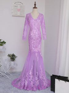 Perfect V-neck Long Sleeves Prom Gown Brush Train Lace and Appliques Lilac Tulle