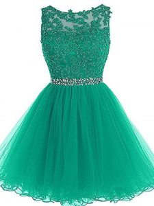 Tulle Sleeveless Mini Length Prom Gown and Beading and Lace and Appliques and Belt
