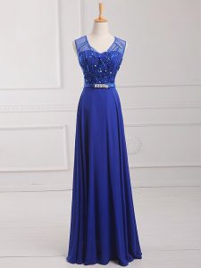 Royal Blue Zipper Scoop Beading and Belt Prom Evening Gown Chiffon Sleeveless