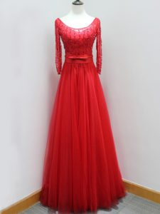 Sophisticated Red Scoop Backless Beading and Belt Dress for Prom Brush Train Long Sleeves